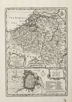 Antike Landkarten, Bowen, Niederlande, Bergen, 1747: A New and Accurate Map of the Netherlands or Low Countries ...
