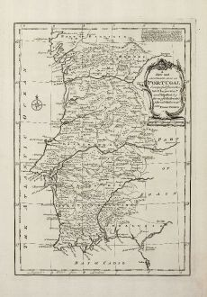 Antique Maps, Bowen, Spain - Portugal, Portugal, 1747: A New and Accurate Map of Portugal Composed from the Latest Improvemts. and Adjusted by the Most Authentic Astronl....