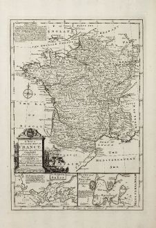Antike Landkarten, Bowen, Frankreich, Brest, Toulon, 1747: A New and Accurate Map of France with its Acquisitions ...