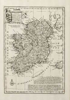 Antique Maps, Bowen, British Islands, Ireland, 1747: A New and Accurate Map of Ireland ...