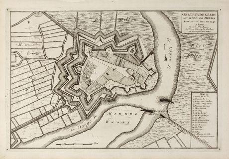 Antique Maps, le Rouge, Netherlands, Brabant, Geertruidenberg, 1741: Gertruydenberg au Nord de Breda Levé sur les Lieux en 1741.