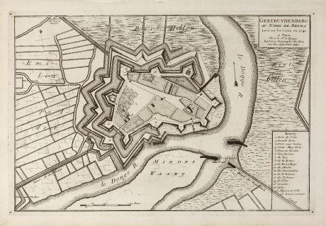 Antike Landkarten, le Rouge, Niederlande, Brabant, Geertruidenberg, 1741: Gertruydenberg au Nord de Breda Levé sur les Lieux en 1741.