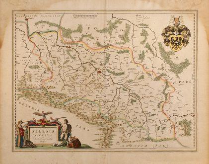 Antike Landkarten, Blaeu, Polen, Schlesien, 1650: Silesia Ducatus A Martino Helwigio Nißense descriptus
