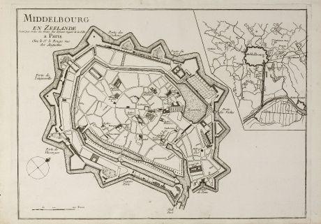 Antique Maps, le Rouge, Netherlands, Zeeland, Middelburg, 1750: Middelbourg en Zeelande Levé par Ordre des Etat. Par Zehener Ingenr. de la Ville.