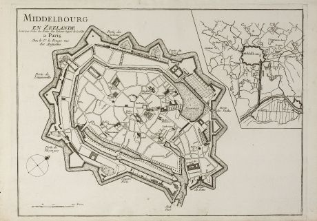 Antike Landkarten, le Rouge, Niederlande, Zeeland, Middelburg, 1750: Middelbourg en Zeelande Levé par Ordre des Etat. Par Zehener Ingenr. de la Ville.