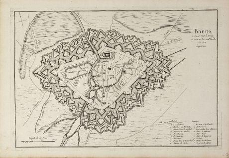 Antike Landkarten, le Rouge, Niederlande, Nordbrabant, Breda, 1741: Breda