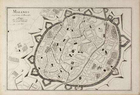 Antique Maps, le Rouge, Belgium, Antwerp, Mechelen, 1745: Malines a 4. Lieues de Bruxelles
