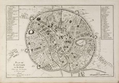 Antique Maps, le Rouge, Belgium, Flemish Brabant, Leuven, 1750: Plan de Louvain en Brabant Enlevé par les Grassins en Fevrier 1746