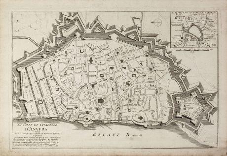 Antike Landkarten, le Rouge, Belgien, Antwerpen, 1750: La Ville et Citadelle d'Anvers