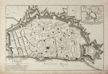Antique Maps, le Rouge, Belgium, Antwerp, 1750: La Ville et Citadelle d'Anvers