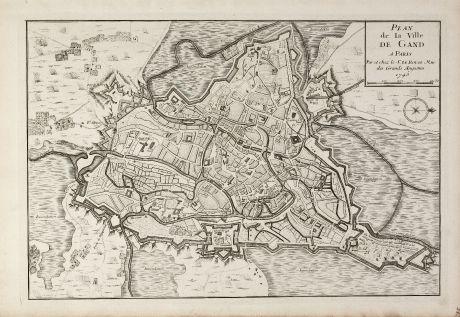 Antike Landkarten, le Rouge, Belgien, Ostflandern, Gent, 1745: Plan de la Ville de Gand