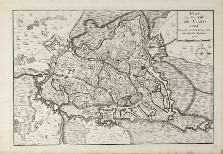 Antique Maps, le Rouge, Belgium, East Flanders, Ghent, 1745: Plan de la Ville de Gand