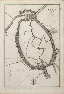 Antike Landkarten, le Rouge, Belgien, Westflandern, Brügge, Brugge, 1746: Bruges