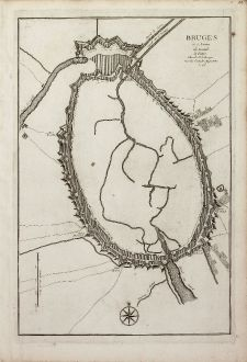 Antique Maps, le Rouge, Belgium, West Flanders, Bruges, 1746: Bruges