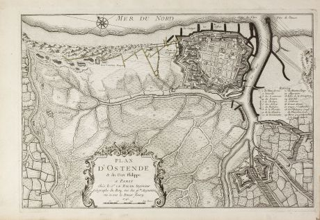 Antique Maps, le Rouge, Belgium, West Flanders, Oostende, 1745: Plan d'Ostende & du Fort Philippe.