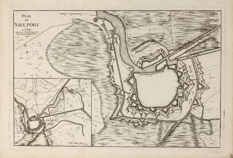 Antike Landkarten, le Rouge, Belgien, Westflandern, Nieuwpoort, 1746: Plan de Nieuport