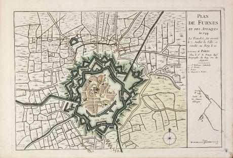 Antike Landkarten, le Rouge, Belgien, Westflandern, Veurne, 1746: Plan de Furnes et des Attaques de 1744 ...