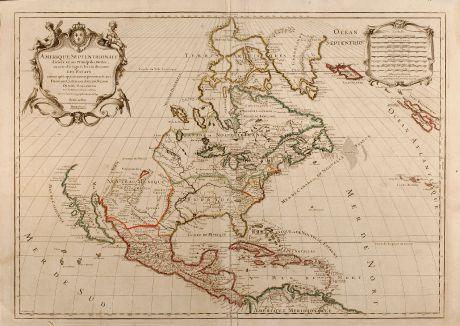 Antike Landkarten, Jaillot, Nordamerika, 1719: Amerique Septentrionale divisee en ses Principales Parties