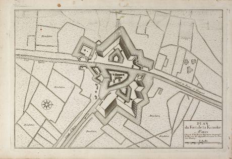 Antike Landkarten, le Rouge, Belgien, Westflandern, Fort Kenoque, 1746: Plan du fort de La Kenoke