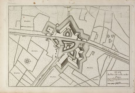 Antique Maps, le Rouge, Belgium, West Flanders, Fort Kenoque, 1746: Plan du fort de La Kenoke