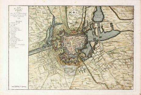 Antike Landkarten, le Rouge, Belgien, Westflandern, Ypern, 1746: Plan des Attaques d'Ypres