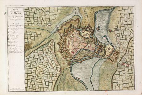 Antique Maps, le Rouge, Belgium, West Flanders, Menen, 1744: Plan des Attaques de Menin