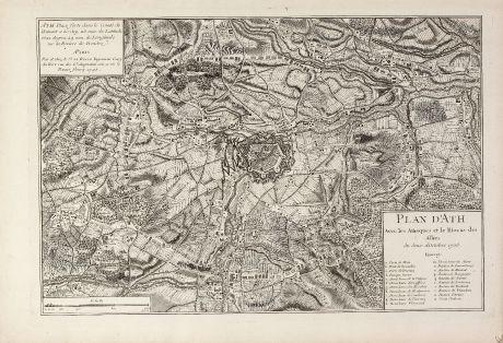 Antique Maps, le Rouge, Belgium, Hainaut, Ath, 1745: Plan d'Ath