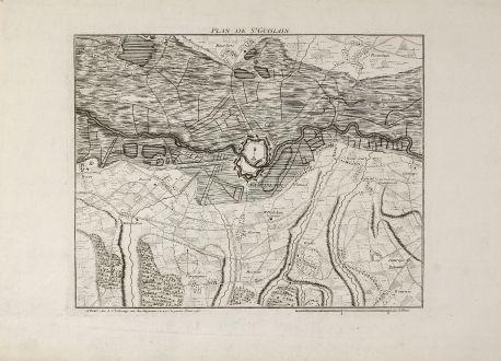 Antike Landkarten, le Rouge, Belgien, Hennegau, Saint-Ghislain, 1745: Plan de St. Guislain
