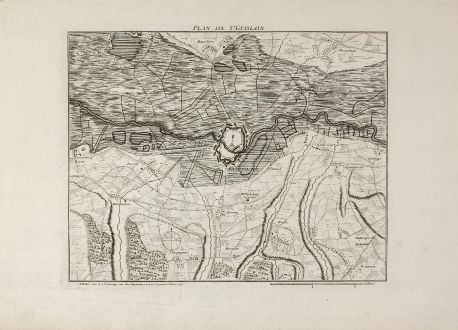 Antique Maps, le Rouge, Belgium, Hainaut, Saint-Ghislain, 1745: Plan de St. Guislain