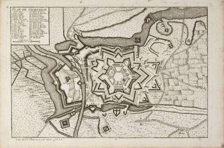 Antique Maps, le Rouge, Belgium, Hainaut, Charleroi, 1745: Plan de Charleroy