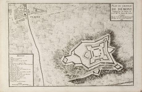 Antique Maps, le Rouge, Italy, Piedmont, Demonte, 1744: Plan du Chateau de Démont Emporté par les Armes de S.A.S. Mgr. le Prince de Conti.