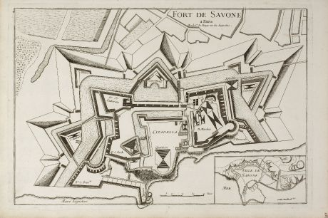Antique Maps, le Rouge, Italy, Liguria, Savona, 1750: Fort de Savone