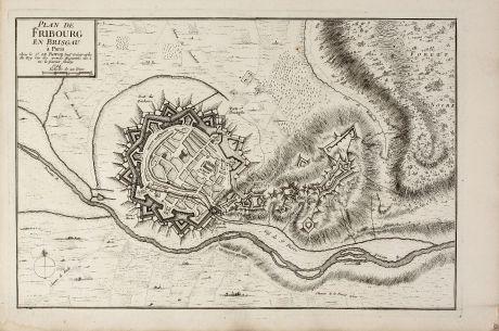 Antique Maps, le Rouge, Germany, Baden-Württemberg, Freiburg im Breisgau: Plan de Fribourg en Brisgau