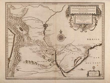 Antike Landkarten, Blaeu, Südamerika, Paraguay, 1630: Paraguay, o Prov. de Rio de la Plata cum regionibus adiacentibus Tucuman et S.ta Cruz de la Sierra