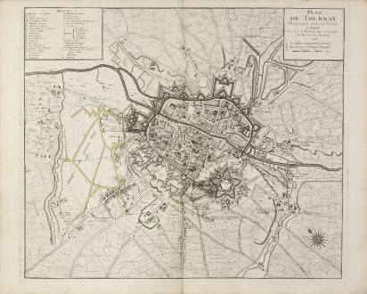 Antique Maps, le Rouge, Belgium, Hainaut, Doornik, Tournai, 1745: Plan de Tournay. Ville Episcopale situee sur l'Escault