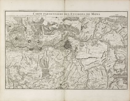 Antike Landkarten, Jaillot, Belgien, Bergen, Mons, 1740: Carte Particuliere des Environs de Mons
