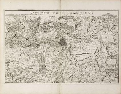 Antique Maps, Jaillot, Belgium, Mons, 1740: Carte Particuliere des Environs de Mons