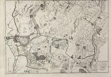 Antike Landkarten, le Rouge, Niederlande, Nordbrabant, Bergen op Zoom, 1748: Berg-op-Zoom ses Attaques Et ses Environs Leve sur les Lieux en Janvier 1748