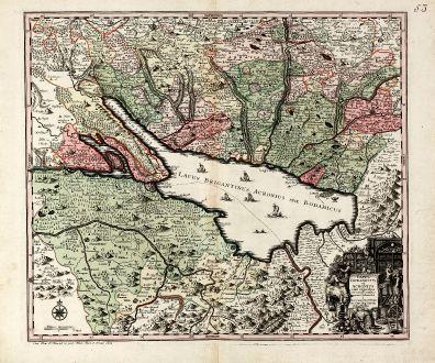 Antique Maps, Seutter, Germany, Baden-Württemberg, Lake of Constance, Bodensee: Lacus Bodamicus vel Acronius cum regionibus circumjacentibus recens delineatus a Matthaeo Seuttero, Sac. Caes. Maj. Geogr....