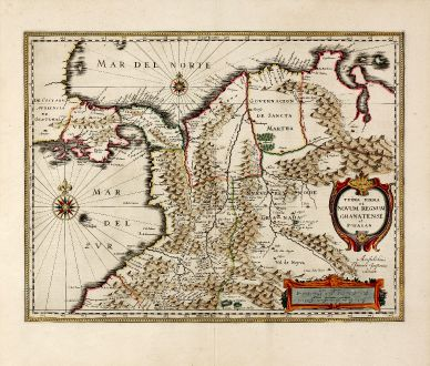 Antique Maps, Janssonius, South America, Colombia, 1637: Terra Firma et Novum Regnum Granatense et Popayan
