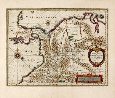 Antike Landkarten, Janssonius, Südamerika, Kolumbien, 1637: Terra Firma et Novum Regnum Granatense et Popayan