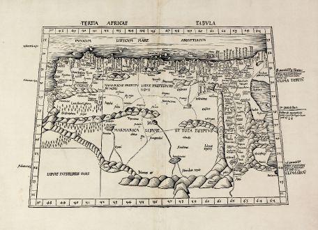 Antike Landkarten, Waldseemüller, Nordafrika, Nordafrika, Libyen, Ägypten, Rotes Meer: Tertia Africae Tabula