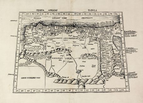 Antique Maps, Waldseemüller, North Africa, Libya, Egypt, Red Sea: Tertia Africae Tabula