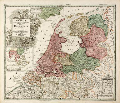 Antike Landkarten, Homann, Niederlande, New York, Jakarta, 1710: Belgii Pars Septentrionalis Communi Nomine vulgo Hollandia ... / Batavorum Coloniae Occidential Indiis Septentrionalis...