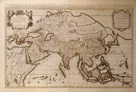 Antique Maps, Jaillot, Asian Continent, 1696: L' Asie divisee en ses Principales Regions, et ou se peut- voir l' estendue. Des Empires, Monarchies, Royaumes, et Estats...