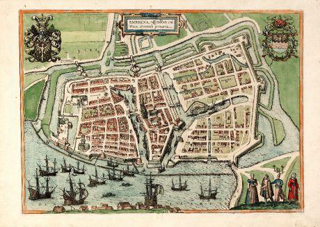 Antike Landkarten, Braun & Hogenberg, Deutschland, Niedersachsen, Emden, 1575: Embdena, Embden urbs Frisiae orientalis primaria.