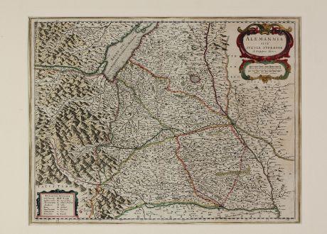Antike Landkarten, Blaeu, Deutschland, Baden-Württemberg, Schwaben, 1634: Alemannia sive Suevia Superior A. Christophoro Hurtero.