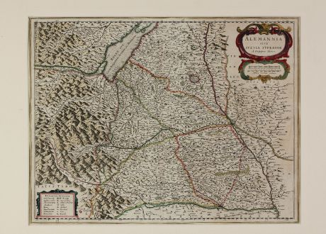 Antique Maps, Blaeu, Germany, Baden-Württemberg, Swabia, 1634: Alemannia sive Suevia Superior A. Christophoro Hurtero.