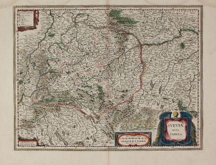 Antike Landkarten, Blaeu, Deutschland, Baden-Württemberg, Schwaben, 1630 (1642): Sueviae Nova Tabula.
