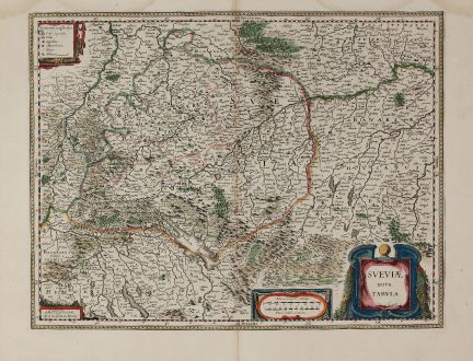 Antique Maps, Blaeu, Germany, Baden-Württemberg, Swabia, 1630: Sueviae Nova Tabula.